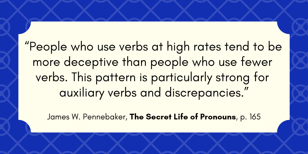 Pennebaker quote re: expanded verb structures