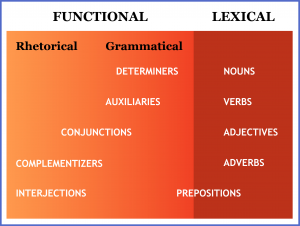 Grammar: parts of speech listed according to whether they're functional or lexical